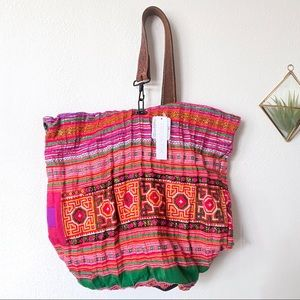 Free People Thailand Vintage Textile Leather Tote